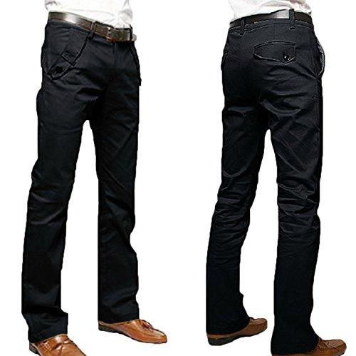WSLCN Homme Business Chino Coton Pantalon Droit Casual Pants (SANS CEINTURE) Noir