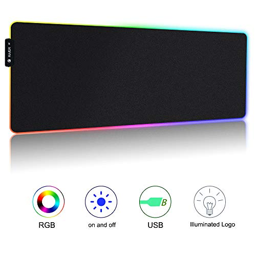 RGB Mauspad Gaming Mouse Pad with 7 LED Farben 10 Beleuchtungs-Modi LED Tastatur Mouse Matte XL Tischunterlage für Professionelle Gamer, Computer, PC und Laptop