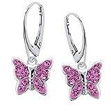 Rosa Kristall Schmetterling Klapp-Brisur Ohrringe 925 Echt Silber Mädchen Kinder Ohrhänger