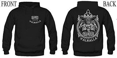 Sieg oder Walhalla Männer und Herren Kapuzenpullover | Odin Wikinger Valhalla Geschenk | M1 FB (S, Schwarz)