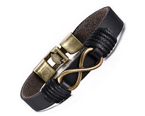 Vnox Herren echtes Plain Leder Wrap Wristband Bronze Alloy Infinity Love Charm Cuff Armband Schwarz,22cm Länge