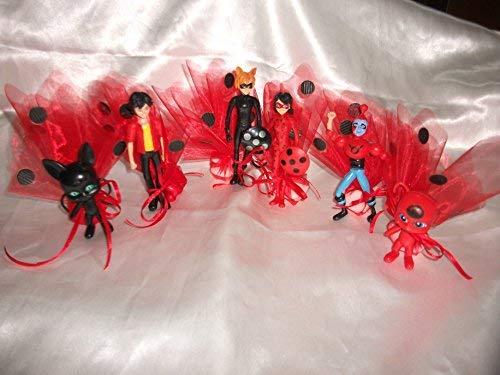 Animazione Bomboniere Set 6 Personaggi Lady Bug, confezionati con Sacchetto e Confetti