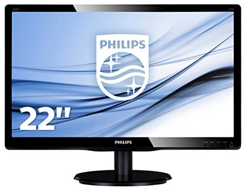 "Philips Monitor 223V5LSB2 Monitor per PC Desktop 22"" LED, Full HD, 1920 x 1080, 5 ms, VGA, Attacco VESA, Nero"