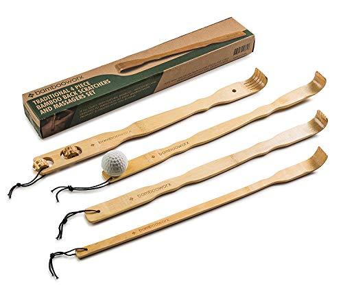 Bambus-Massage-Set, traditionelles Rückenkratzer- und Körperentspannungsmassage-Set, für Juckreiz, 44,5 cm, stark und stabil, 100% natürliches Bambus