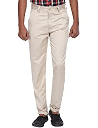 Wajbee Men's Beige Cotton -Lycra Chinos