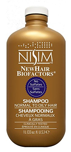 Nisim NewHair Biofactors Shampoo Oily 1000ml mit Dosierpumpe, schneller Haarausfall Stopp, Haar normal bis ölig, paraben- und sulfat frei, für Männer und Frauen, mit Biotin