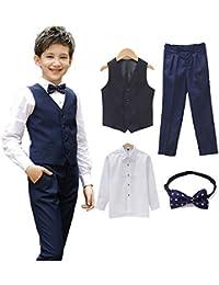 Angelmemory - Conjunto de Traje Formal para niño con Chaleco y pantalón, Camisa y Corbata