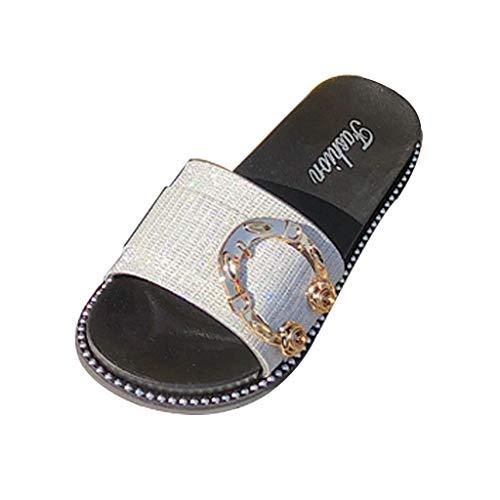 Mitlfuny Damen Sommer Sandalen Bohemian Flach Sandaletten Sommer Strand Schuhe,Frauen-Sommer-offene Zehe-Wilde beiläufige Pantoffel-Sandelholz-Plattform-Strand-Weg-Schuhe - Für Frauen-plattform Sandalen Qupid