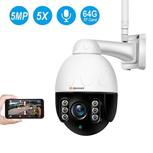 5.0MP PTZ Caméra Surveillance Extérieure WiFi de Sécurité, Jennov Dôme Caméra IP sans Fil 360 ° avec 5X Zoom Optique, Audio Bidirectionnel, Vision Nocturne, IP66 Etanche, 64G SD Carte Préinstallé