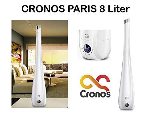 ORIGINAL CRONOS PARIS Luftbefeuchter mit Ionisator - Diffusor Raumbefeuchter Ultraschall - 8 Liter - für Räume bis 60m²/160m³ - Ultra Leise