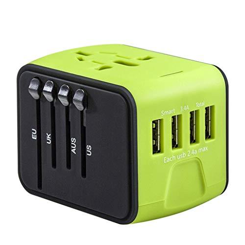 International Travel Power Adapter (Reiseadapter,Colorful Universal International Travel Power Adapter W/Smart High Speed   2,4 A 4xUSB, Adapter für europäische Stecker, weltweite Steckdosenadapter für EU, UK, USA, AU (Grün))