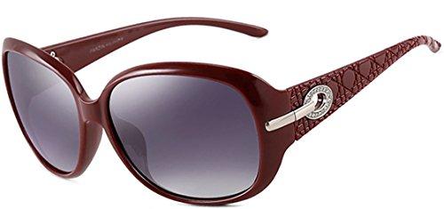 ATTCL Mode Polarisiert UV400 Plaid Oversize Damen Sonnenbrillen 6214 Rot Ltd Plaid