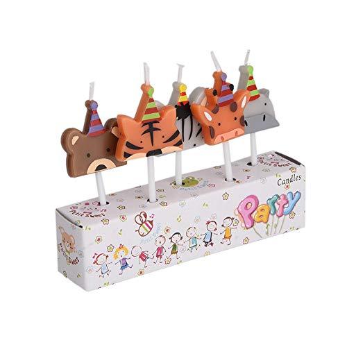 aheadad 5 Pezzi paraffina Simpatico Cartone Animato Bambini Bambini Festa di Compleanno Torta Decorazione Candela con Bastone di Legno Auto 3 Tipo di Candela Disegno