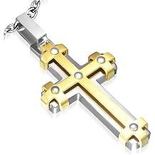 Pendentif acier et traité or croix Bartholome