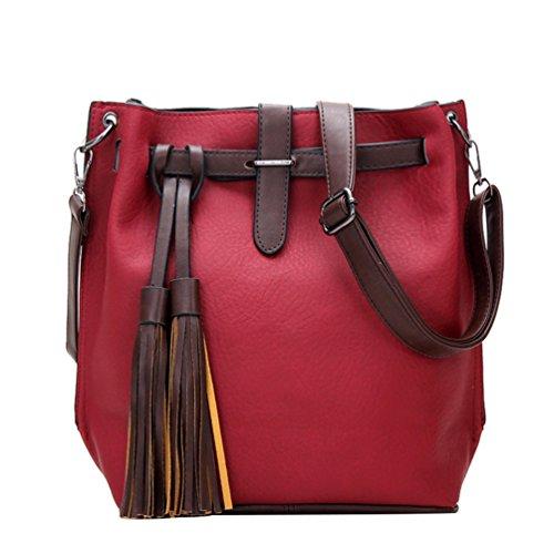 Yiiquan Damen Winter Elegant Tasche mit Fransen Dekoration Einfacher Stil Umhängetasche Crossbody Wein Rot
