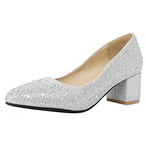 AIYOUMEI Damen Brautschuhe Glitzer Pumps Blockabsatz Spitz mit Strasssteinen und 5cm Absatz Chunky Heels Schuhe Hochzeit Elegant