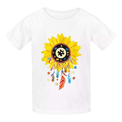 QUEETISOLA - Camiseta de algodón para niños, diseño de atrapasueños con Autismo, cómoda y Suave, Corta sin Mangas para niños/niñas/Adolescentes Blanco Blanco L