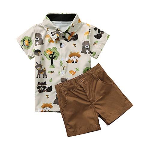 Cuteelf Baby Set Kinder Kurzarm Cartoon Bär Print Shirt Shirt + Solid Color Shorts Set Gentleman Pack Kind Baby Boy Gentleman Cartoon Bär Print T-Shirt Tops Shorts Kleidung