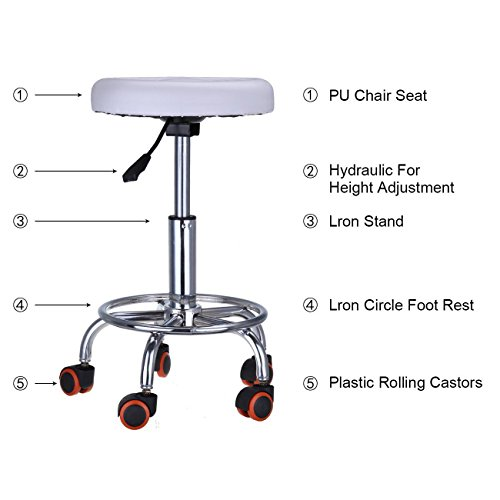 Price comparison product image Iglobalbuy Adjustable Swivel Lift Salon SPA Chair with Caster Round Bar Stool Gas lift Barber Tattoo Nail Haircut Hairdressing White