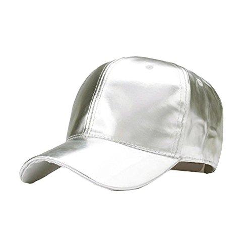 TUDUZ Snapback Cap Hip Hop Mütze Baseball Kappe für Herren und Damen Lackleder Einfarbig Adjustable Hut Straße Stil Baseball Caps(,Silber)