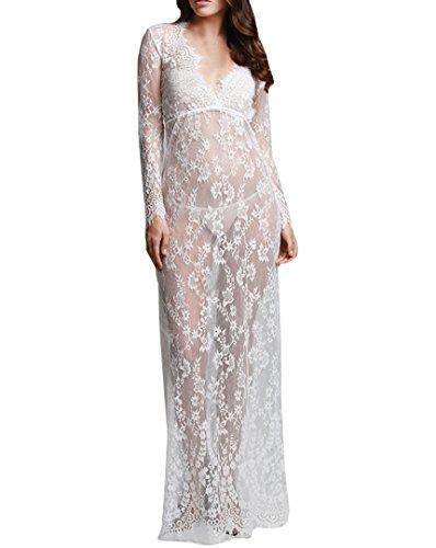 Milya Frauen spitzenkleid weiß lang mit tiefem V Ausschnitt Langarm Fischschwanz Kleid langes Kleid Vorausschau rock Spitze Blumenkleid (Spitzenkleid Foto)