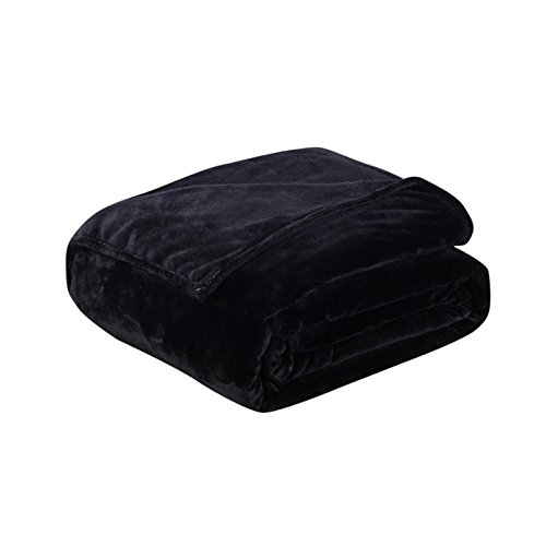 King-size-decke Thermo (asdomo Flanell Fleece weichem Thermo-Decke/Überwurf Warm Fuzzy leicht Cozy Baby Decken All Season Full/Queen/King Size Bett Sofa, Polyester, schwarz, 70X100cm)