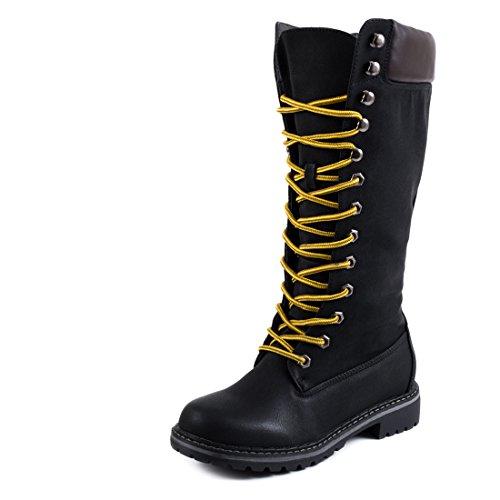 Trendige Damen Lace Up Schnür Stiefel Hochschaft Boots Schwarz