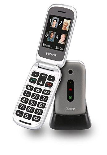 Olympia 2221 Mira Mobiltelefon-/ Seniorenhandy (Große Tasten, Notruf-Taste, Klappbares Großtasten-Handy, geeignet für Senioren, Rentner ohne Vertrag, Altersgerechtes Klapphandy mit Tasten) silber