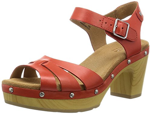 Clarks Ledella Trail, Damen Knöchelriemchen Sandalen, Rot (Grenadine Leather), 39.5 EU (6 Damen UK)