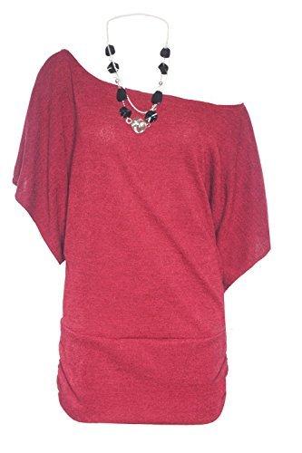 Be Jealous - Top à manches longues - Manche chauve-souris - Femme Wine Marl - Ruched Scoop Neck Attached Necklace (Top Ruched Knit)
