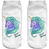 OHlive Suave Calcetines del Tobillo de Las Mujeres de Unicorn 3D Impreso Sneakers Liners (1 par-DJS18-One Size) (Color : DJS18, tamaño : Talla única)