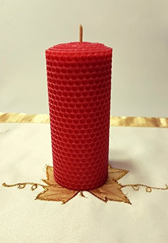 Wabenkerze aus 100% Bienenwachs Adventskerze Handgedrehte Stumpenkerze Farbe Rot durchgefärbt Weinachtskerzen, Bienenwachskerze