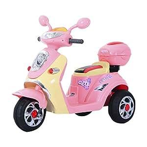 Homcom Elektro Kindermotorrad Elektromotorrad Kinderelektroauto Kinderfahrzeug Dreirad, 6V, Metall+PP, 108x51x75cm (Rosa+Weiß)