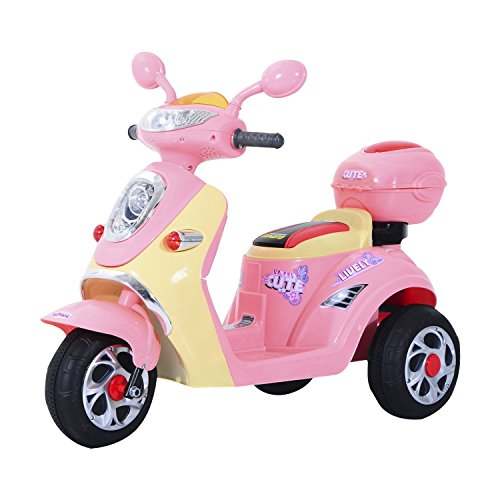Homcom Elektro Kindermotorrad Elektromotorrad Kinderelektroauto Kinderfahrzeug Dreirad, 6V, Metall+PP, 108x51x75cm (Rosa+Weiß) (Roller Essen)