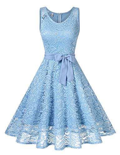 KOJOOIN Damen Spitzen Brautjungfernkleider für Hochzeit Abendkleider Ärmellos Kurzes Cocktail Ballkleid Himmelblau M - Retro-kleid-schuhe