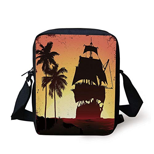 Pirate,Buccaneers Ship Sailing on Mysterious Waters Tropic Palm Trees Grunge Mist,Yellow Black Coral Print Kids Crossbody Messenger Bag Purse Coral Mist