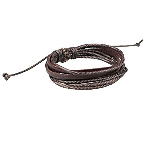 Herren Leder-Handgelenk-Band-Armband Multi-Layer-Verpackungs-Hanf-Armband-Weinlese-Braid Cuff Regard