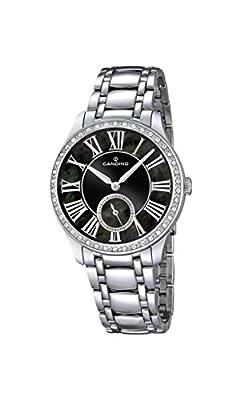 Candino reloj mujer de cuarzo con Negro esfera analógica pantalla y plata pulsera de acero inoxidable C4595/3 de Candino
