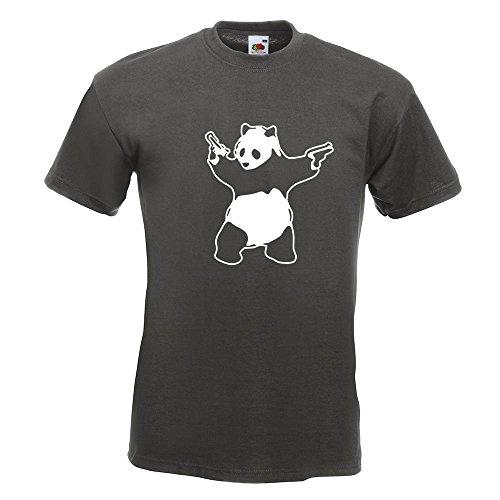 KIWISTAR - Panda with Guns T-Shirt in 15 verschiedenen Farben - Herren Funshirt bedruckt Design Sprüche Spruch Motive Oberteil Baumwolle Print Größe S M L XL XXL Graphit