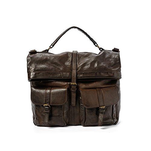 Ira del Valle, Borsa Uomo, In Vera Pelle, Vintage, Borsa Tracolla, Modello San Antonio Bag, Made In Italy Marrone