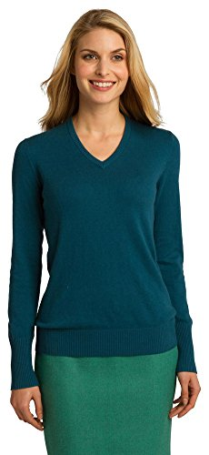 Port Authority Ladies V-Neck Sweater, M, Moroccan Blue -