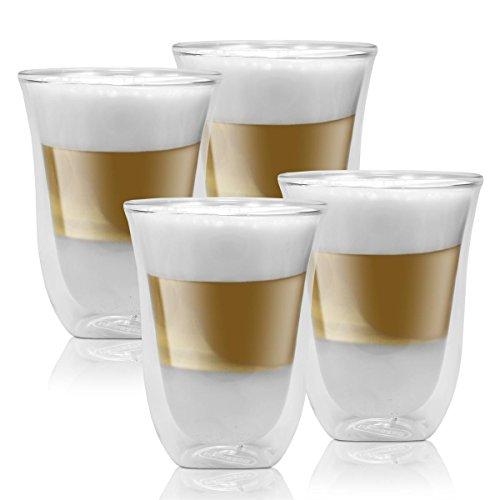 2x Delonghi Latte Macchiato Kaffee 2er Doppelwandiges Thermoglas