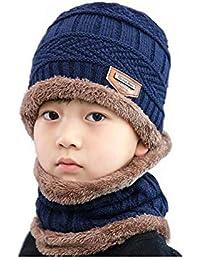 CELLTEK Kids Winter Warm Hat Scarf Knitted Hat Soft Fleece Lined Beanie Cap Set 2-Pieces