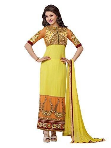 Urvashi Rautela Yellow Color Faux Georgette Traditional Work Semi Stitched Salwar Kameez