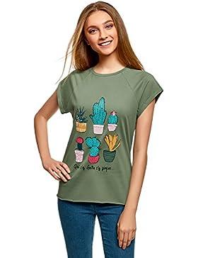 oodji Ultra Mujer Camiseta con Estampado de Verano