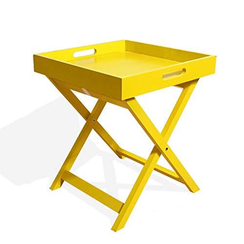 LSXUE Hölzerner faltender Couchtisch Sofa Beistelltisch Einfacher Nachttisch Grün Weiß Gelb DREI Farben Optional, Größe: 40x40x46.5CM (Color : Yellow) (Gelbes Weißes Platten Und Papier)