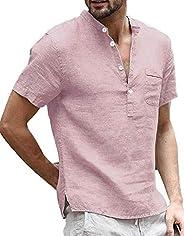 Taoliyuan Mens Linen Henley Shirt Short Sleeve Banded Collar V Neck Summer Beach T Shirt Blouse with Pocket