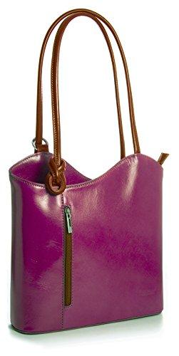 LiaTalia Damen großartige weiche italienische Leder Piping Detail Schulter oder Rucksack Tasche mit Schutztasche - Libby z** (Nicht Piping) - Pink - Tan Trim -
