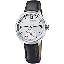 Mondaine Men's Quartz Watch with Silver Dial Analogue Display and Black Leather Strap MH1.B2S80.LB