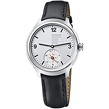 Mondaine Men's Quartz Smart Watch with Silver Dial Analogue Display and Black Leather Strap MH1.B2S80.LB